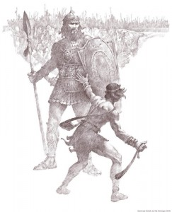 Mormon David killed Goliath armed only with a slingshot and faith.