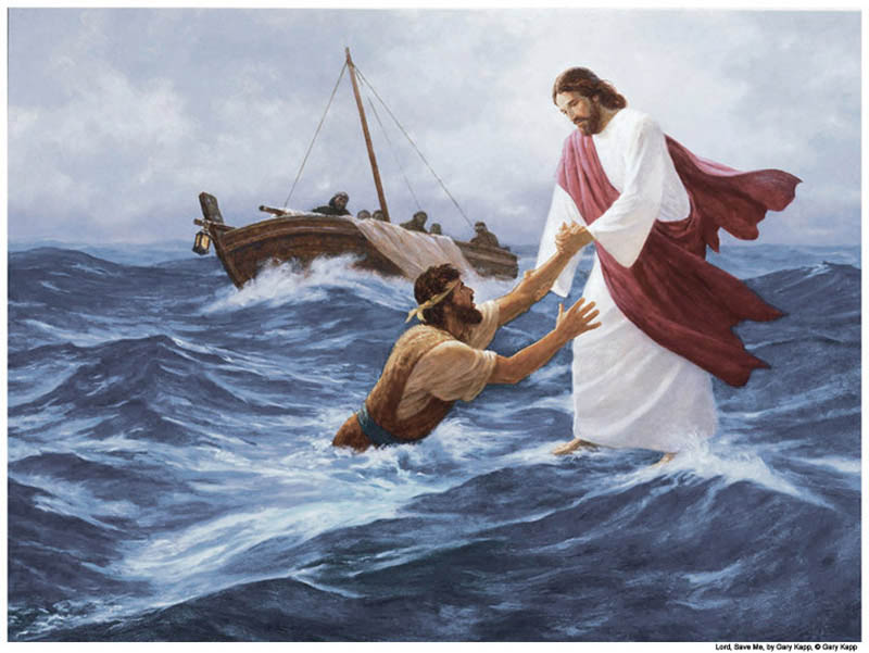 Mormon Jesus walked on water--and Peter lost his faith for a moment.